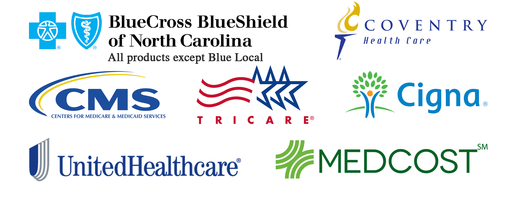 Blue Cross Blue Shield of North Carolina (all products except Blue Local), MedCost, Coventry, United Healthcare, Cigna, Tricare, Medicare / Medicaid